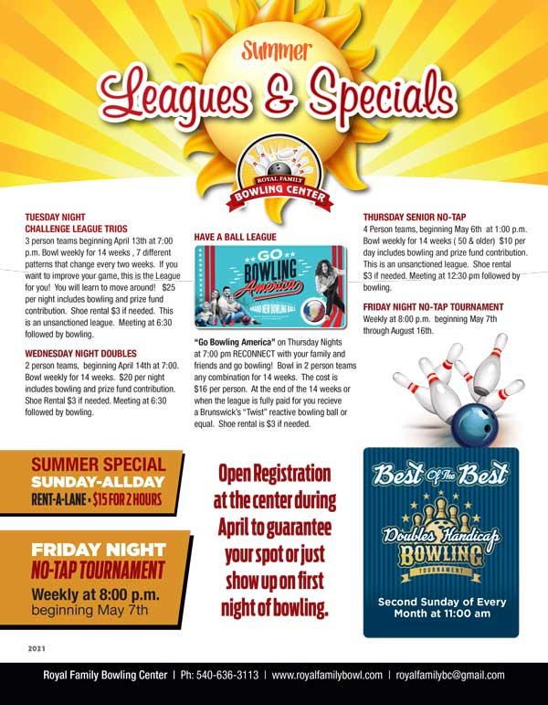 summer leagues and specials